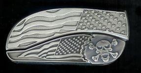 flag flag crossbones belt buckle knife