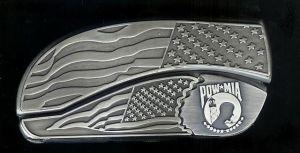 flag flag P.O.W belt buckle knife