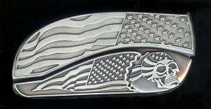 flag skull belt buckle knives