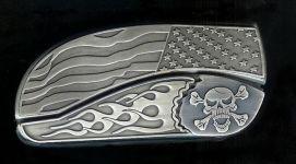 flag flame crossbones belt buckle knife