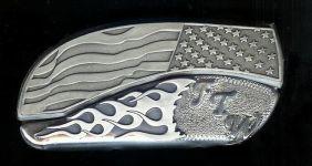flag flame sterling silver ftw initials belt buckle knife