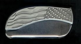 flag plain belt buckle knives