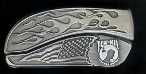 flame flag P.O.W belt buckle knife
