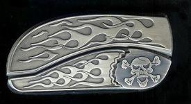 flame flame crossbones belt buckle knife