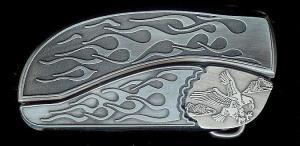 flame flame flying eagle belt buckle knife