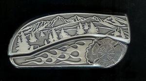 mountain scene flame sterling silver firefighter symbol belt buckle knife