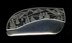 closeout tree scene belt buckle knife