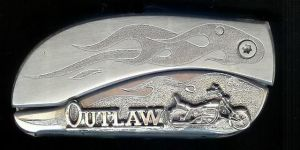engraved flame with sterling silver outlaw and motorcycle belt buckle knife