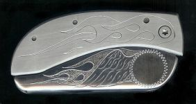 engraved flame with wing initials knife buckles