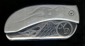 engraved flame with wing initials HD knife buckles