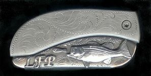 engraved scroll sterling silver bass and three initials belt buckle knife
