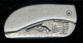 engraved scroll with sterling silver flag and six gun dress belt buckle knife