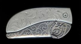 engraved scroll with sterling silver initials and horseshoe belt buckle with knife