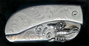 engraved scroll sterling silver initials and scorpion belt buckle knife