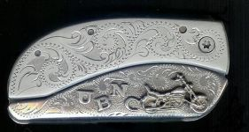 engraved scroll with sterling silver motorcycle and initials belt buckle knife