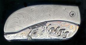 engraved scroll with sterling silver six gun plus four initials dress belt buckle knife
