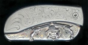engraved scroll with sterling silver two guns smokin skull dress belt buckle knife