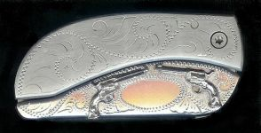 engraved scroll with sterling silver six guns dress belt buckle knife