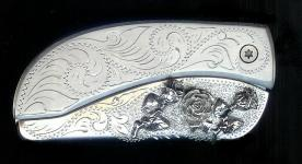 engraved scroll with sterling silver 3 roses belt buckle with knife