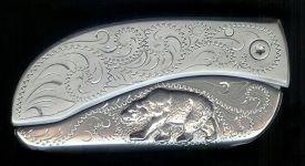 engraved scroll sterling silver bear belt buckle knife