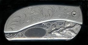 engraved scroll sterling silver ducks belt buckle knife