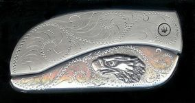 engraved scroll sterling silver eagle belt buckle knife