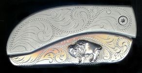 engraved scroll sterling silver standing buffalo belt buckle knife