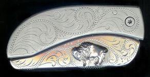 engraved scroll sterling silver standing buffalo belt buckle knife