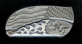 flag flame sterling silver TNT initials custom belt buckle knives