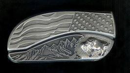 flag tree scene custom sterling silver buffalo belt buckle knife