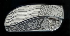 flag tree scene custom sterling silver buffalo head belt buckle knife