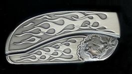 flame flame sterling silver smoking skull and Mary Jane custom belt buckle knives