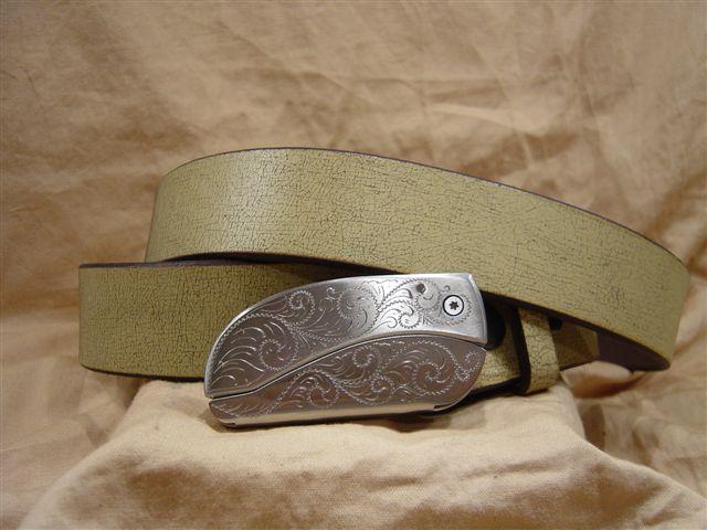 ivory crackle leather belt with belt buckle knife