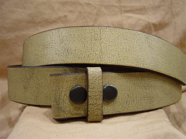 ivory crackle leather belt