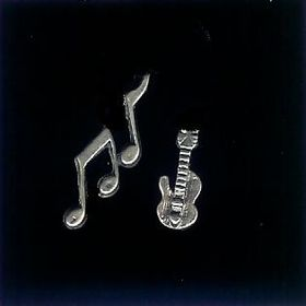 #6 belt buckle sterling silver small notes and guitar