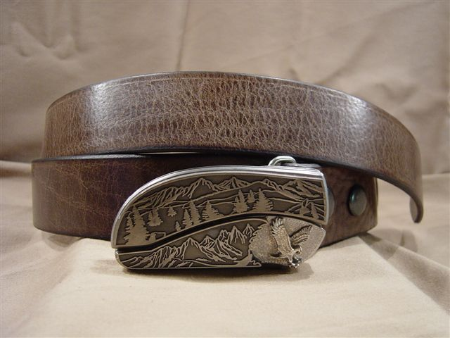 textured chocolate leather belt with belt buckle knife
