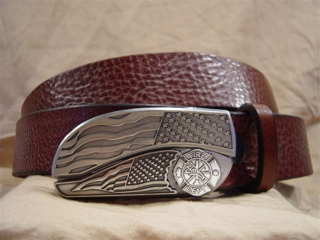 textured cognac leather belt with belt buckle knife