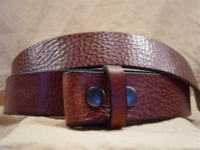 textured cognac leather belt