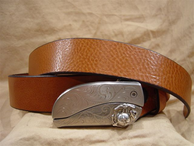 textured saddle leather belt with belt buckle knife