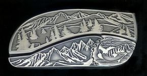 tree scene bass hidden belt buckle knife