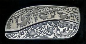 tree scene bass hidden belt buckle knife
