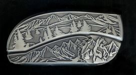 tree scene standing bear hidden belt buckle knife