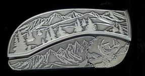 tree scene buck belt buckle knife