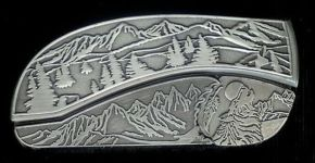 tree scene coyote belt buckle knife
