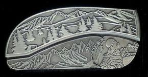 tree scene coyote belt buckle knife