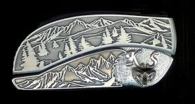 tree scene custom sterling silver KS initials and bighorn ram belt buckle knife