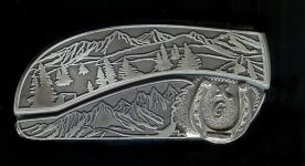 tree scene custom sterling silver RG initials and horseshoe belt buckle knife