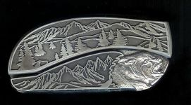 tree scene custom sterling silver bear head belt buckle knife