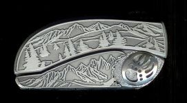 tree scene custom sterling silver bear paw belt buckle knife