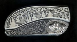 tree scene custom sterling silver buffalo belt buckle knife